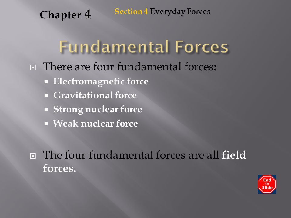 Fundamental Forces Chapter 4 There are four fundamental forces: