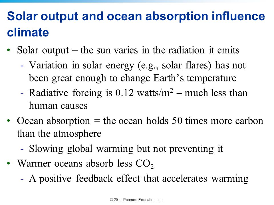 Solar output and ocean absorption influence climate