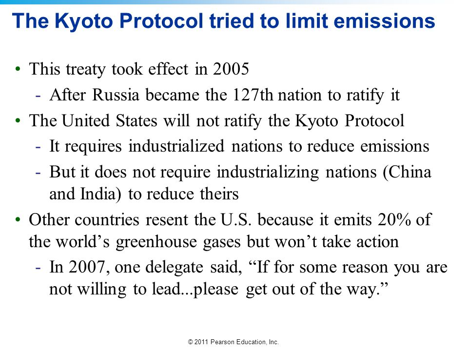 The Kyoto Protocol tried to limit emissions