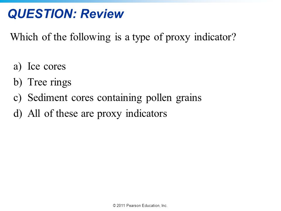 QUESTION: Review Which of the following is a type of proxy indicator