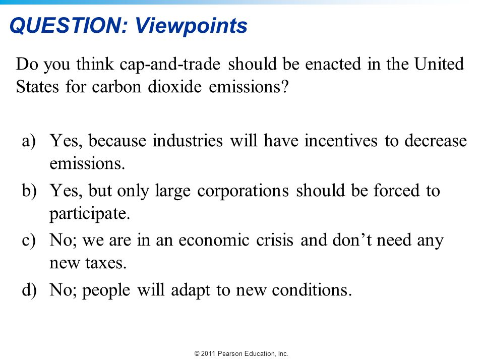 QUESTION: Viewpoints Do you think cap-and-trade should be enacted in the United States for carbon dioxide emissions