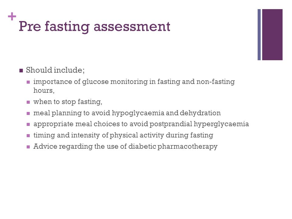 Pre fasting assessment