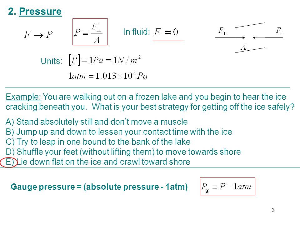 2. Pressure In fluid: Units: