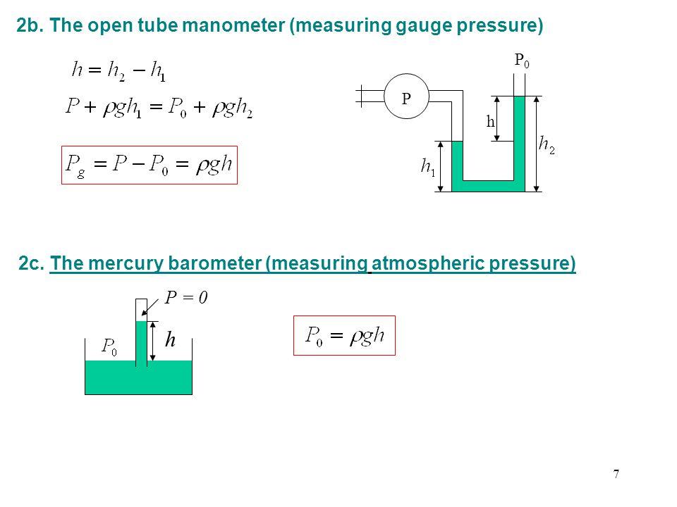 h 2b. The open tube manometer (measuring gauge pressure)