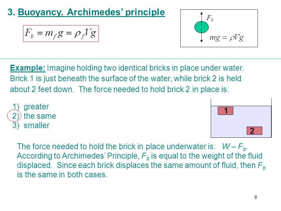 3. Buoyancy. Archimedes' principle