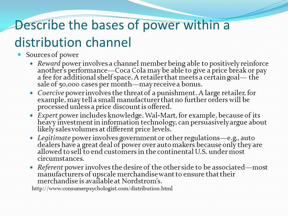 Describe the bases of power within a distribution channel