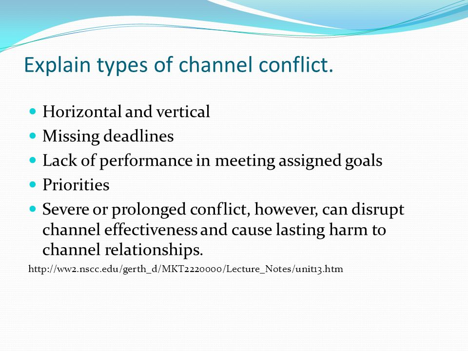 Explain types of channel conflict.
