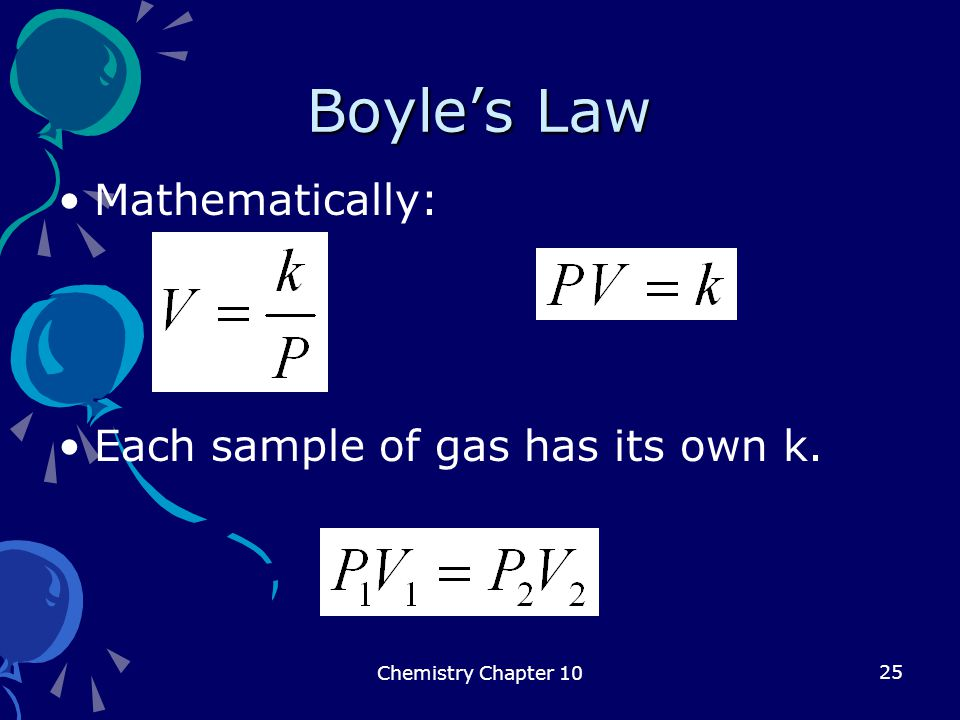 Boyle's Law Mathematically: Each sample of gas has its own k.