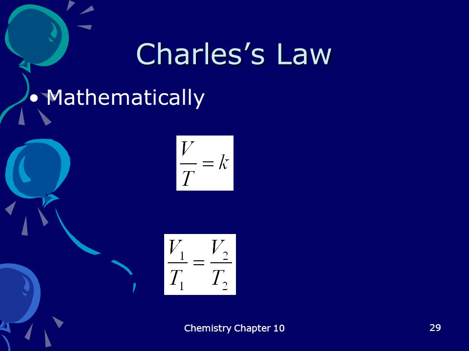 Charles's Law Mathematically Chemistry Chapter 10
