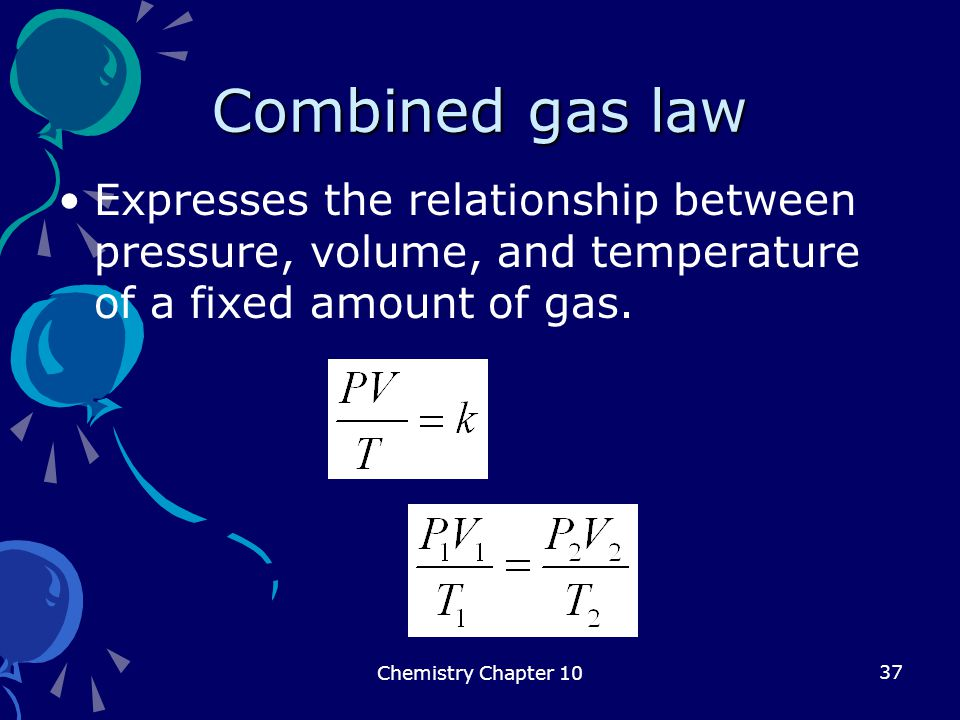 Combined gas law Expresses the relationship between pressure, volume, and temperature of a fixed amount of gas.
