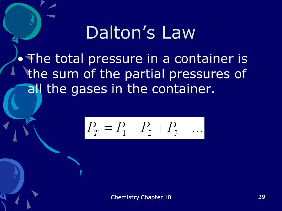 Dalton's Law The total pressure in a container is the sum of the partial pressures of all the gases in the container.
