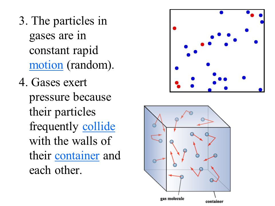 3. The particles in gases are in constant rapid motion (random).