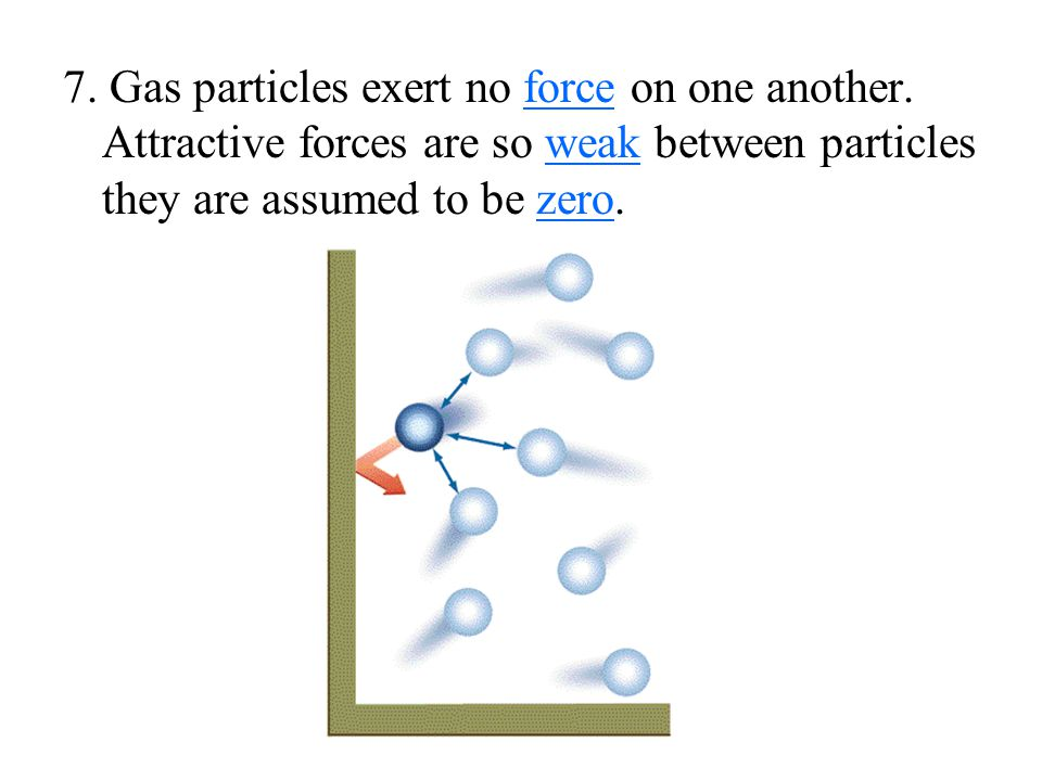 7. Gas particles exert no force on one another