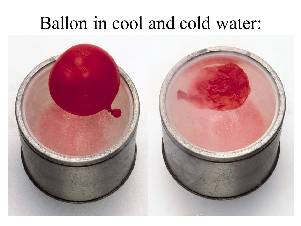 Ballon in cool and cold water: