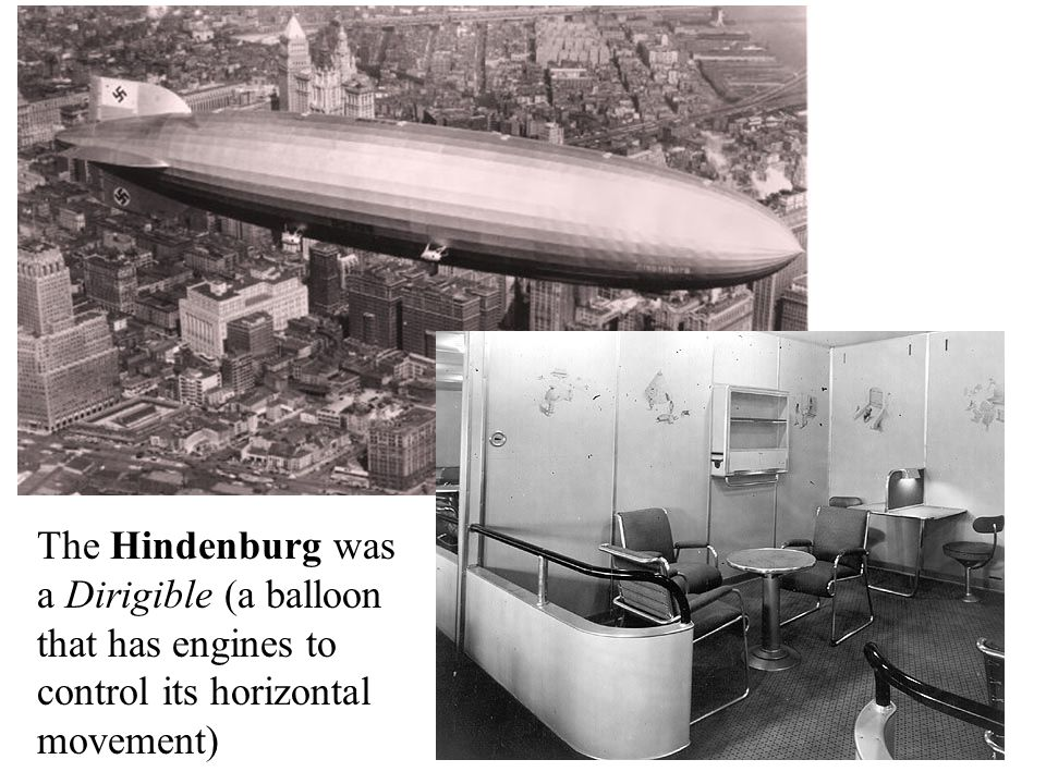The Hindenburg was a Dirigible (a balloon that has engines to control its horizontal movement)