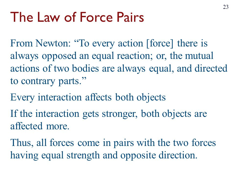 The Law of Force Pairs