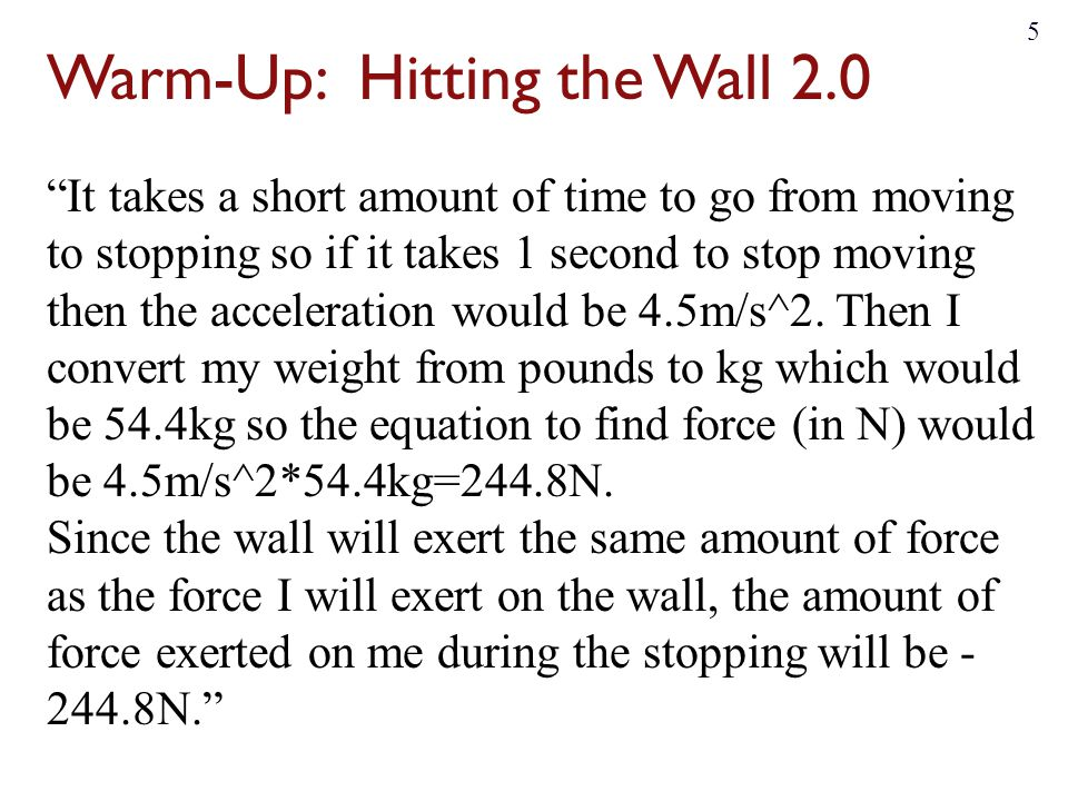Warm-Up: Hitting the Wall 2.0