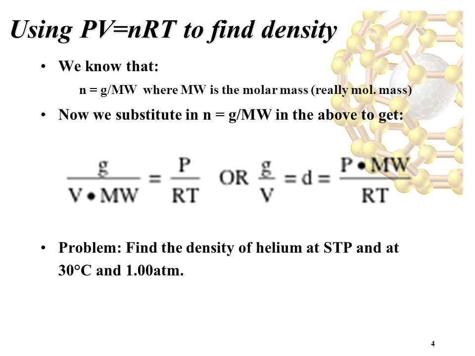 Using PV=nRT to find density