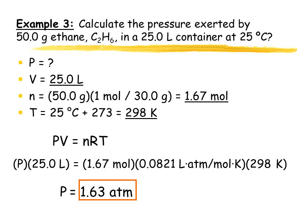 Example 3: Calculate the pressure exerted by 50