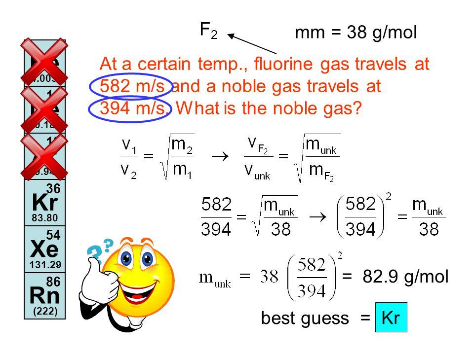 He Ne Ar Kr Xe Rn F2 mm = 38 g/mol