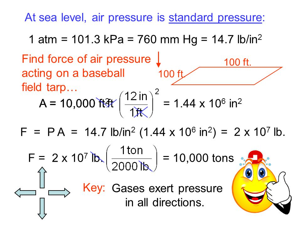 At sea level, air pressure is standard pressure: