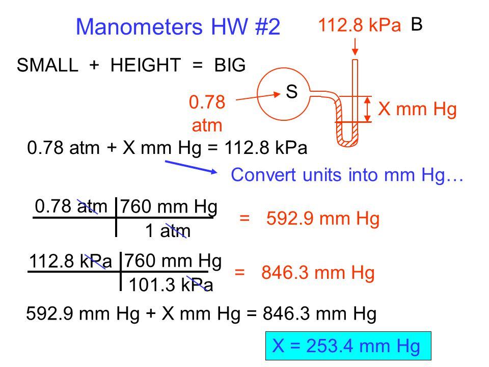 Manometers HW #2 112.8 kPa B SMALL + HEIGHT = BIG S 0.78 atm X mm Hg