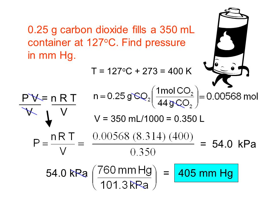 0.25 g carbon dioxide fills a 350 mL container at 127oC. Find pressure