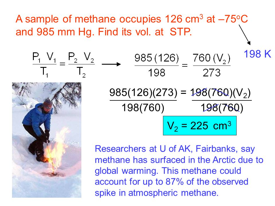 A sample of methane occupies 126 cm3 at –75oC