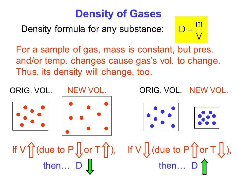 Density of Gases Density formula for any substance: