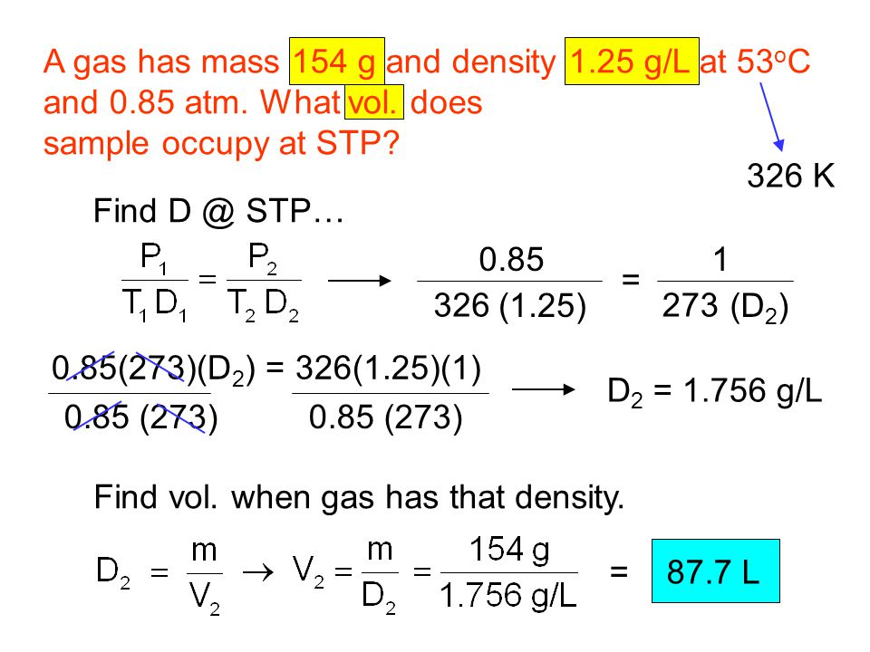 A gas has mass 154 g and density 1.25 g/L at 53oC