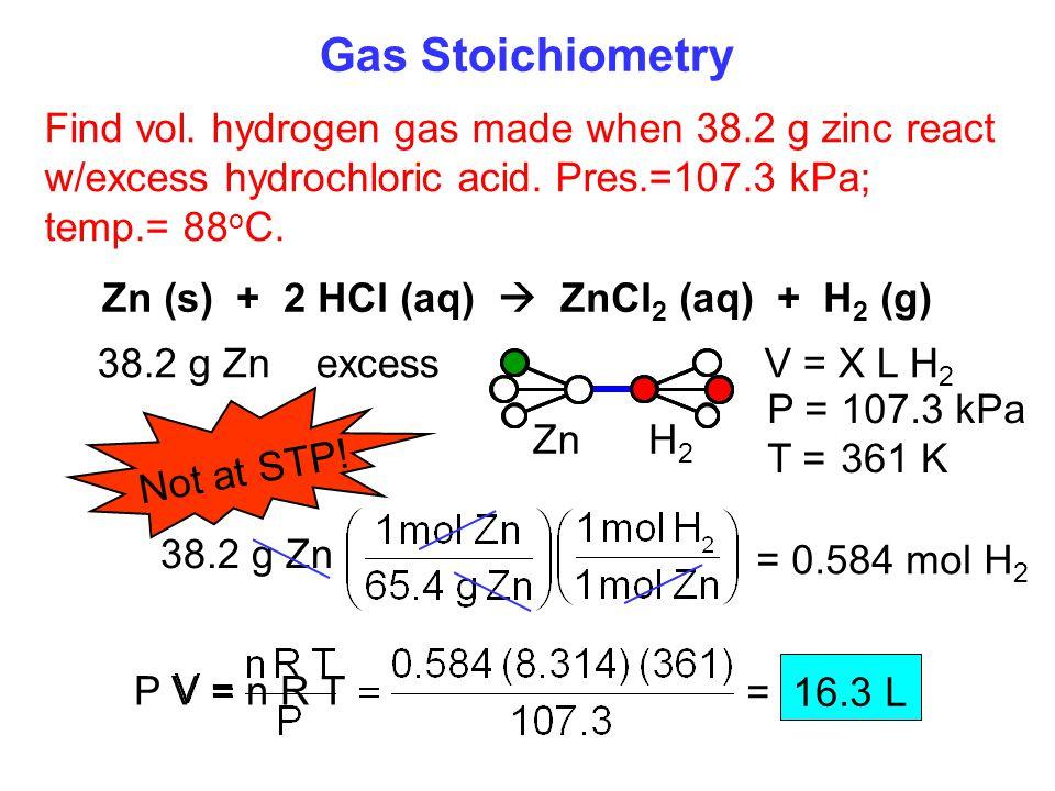 Zn (s) + 2 HCl (aq)  ZnCl2 (aq) + H2 (g)