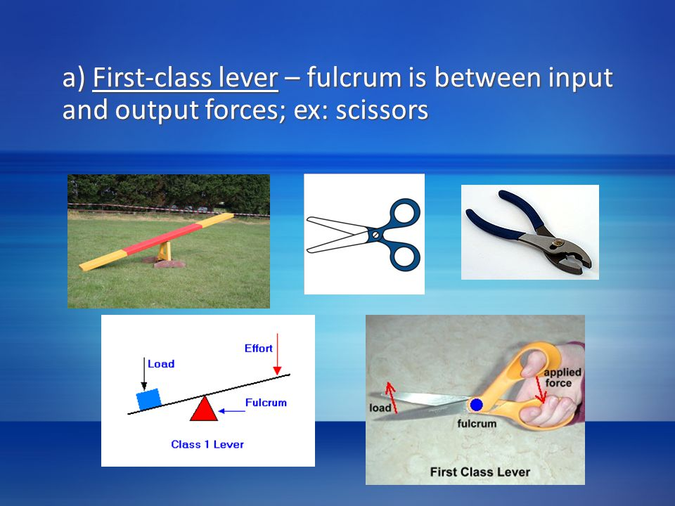 a) First-class lever – fulcrum is between input and output forces; ex: scissors