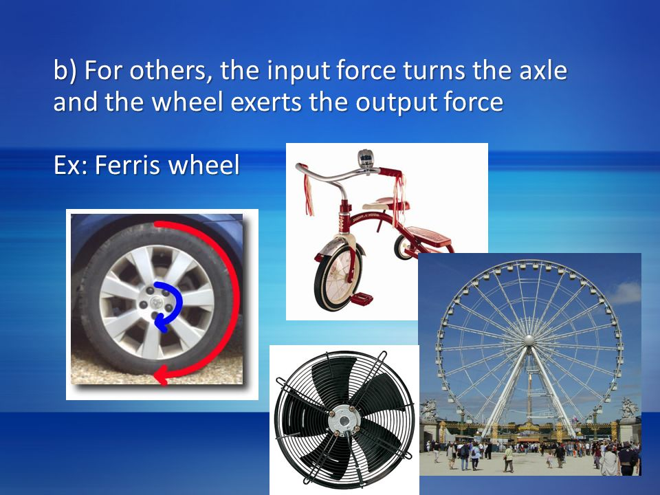 b) For others, the input force turns the axle and the wheel exerts the output force