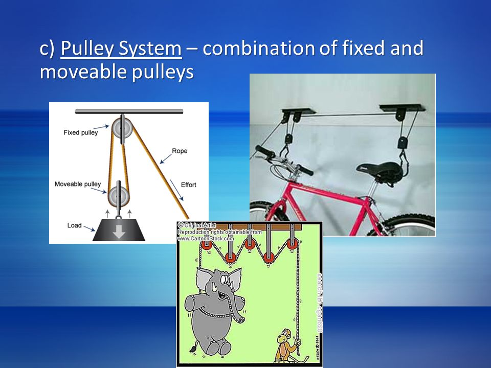 c) Pulley System – combination of fixed and moveable pulleys