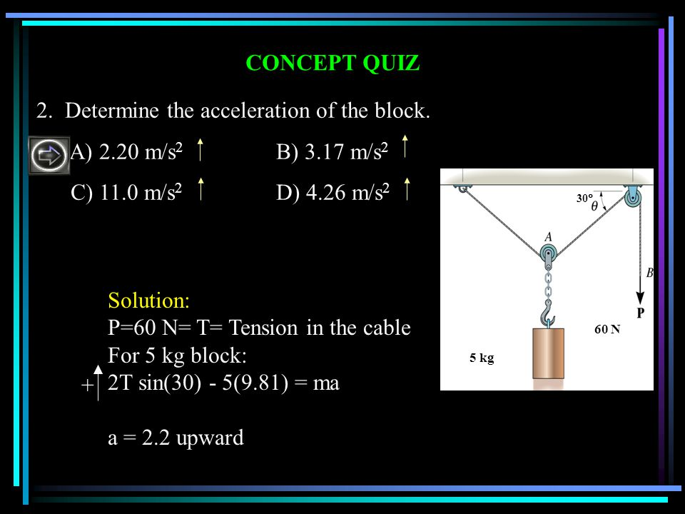 2. Determine the acceleration of the block. A) 2.20 m/s2 B) 3.17 m/s2