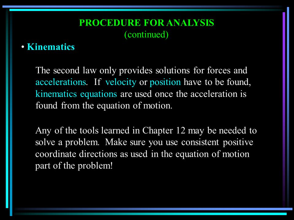 PROCEDURE FOR ANALYSIS (continued)