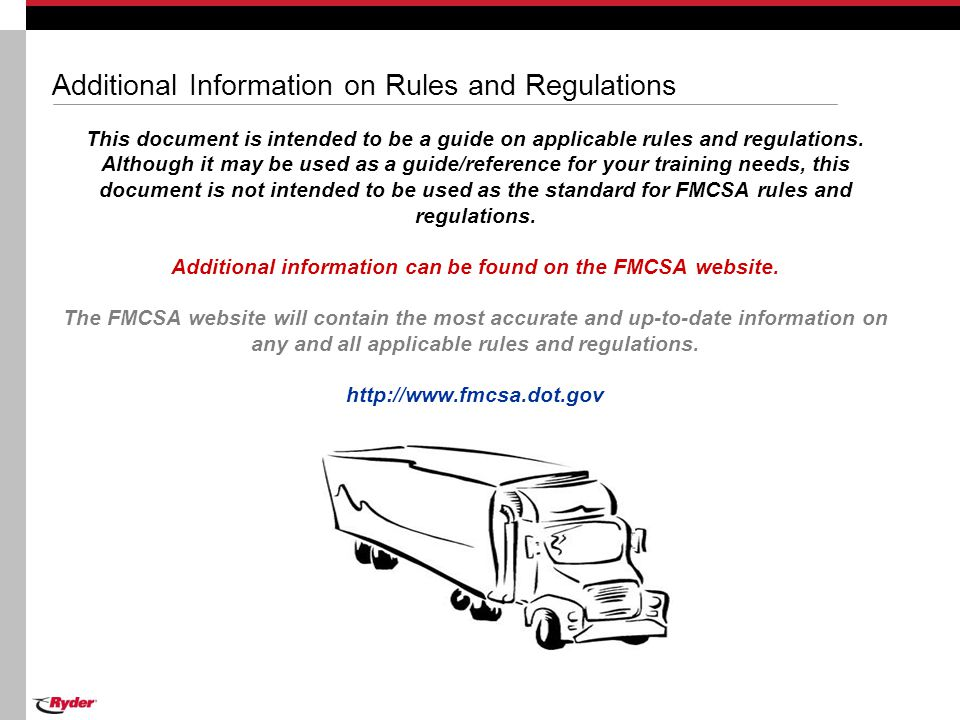 Additional Information on Rules and Regulations