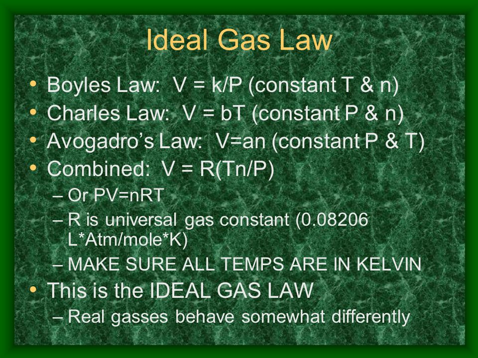 Ideal Gas Law Boyles Law: V = k/P (constant T & n)