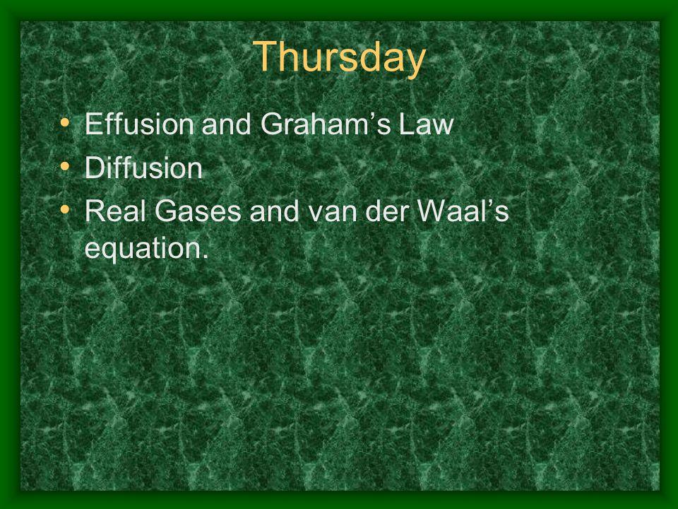 Thursday Effusion and Graham's Law Diffusion