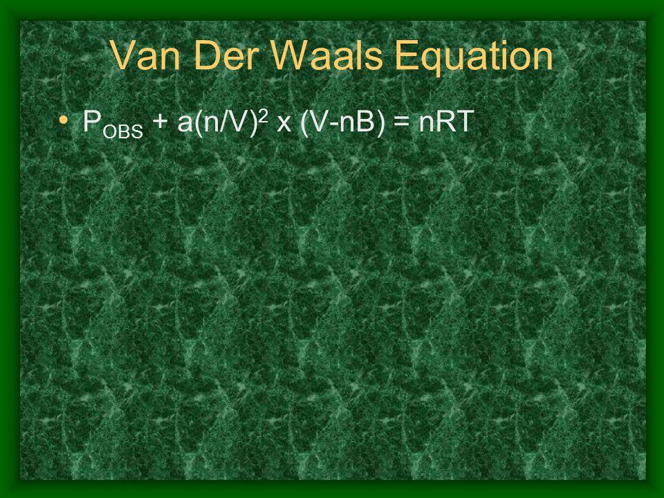 Van Der Waals Equation POBS + a(n/V)2 x (V-nB) = nRT