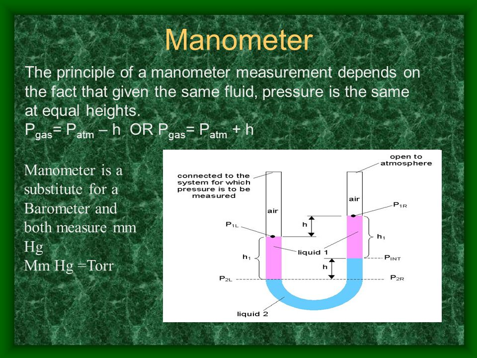Manometer The principle of a manometer measurement depends on the fact that given the same fluid, pressure is the same at equal heights.