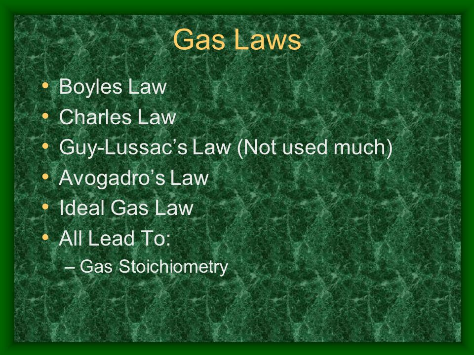 Gas Laws Boyles Law Charles Law Guy-Lussac's Law (Not used much)