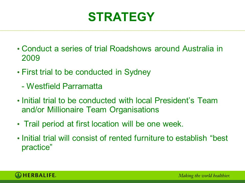 STRATEGY Conduct a series of trial Roadshows around Australia in 2009