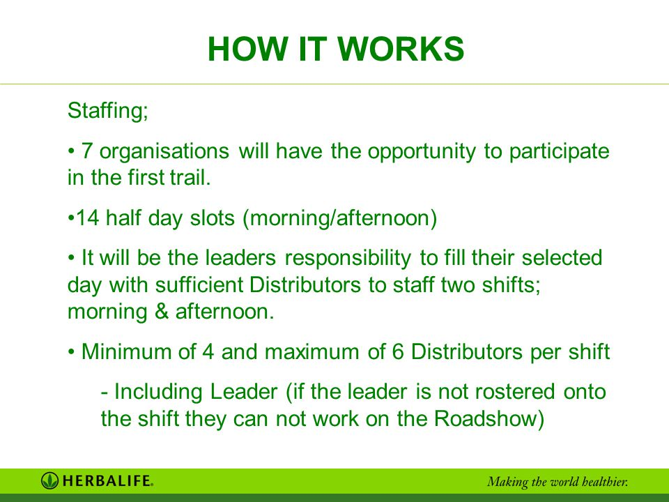 HOW IT WORKS Staffing; 7 organisations will have the opportunity to participate in the first trail.