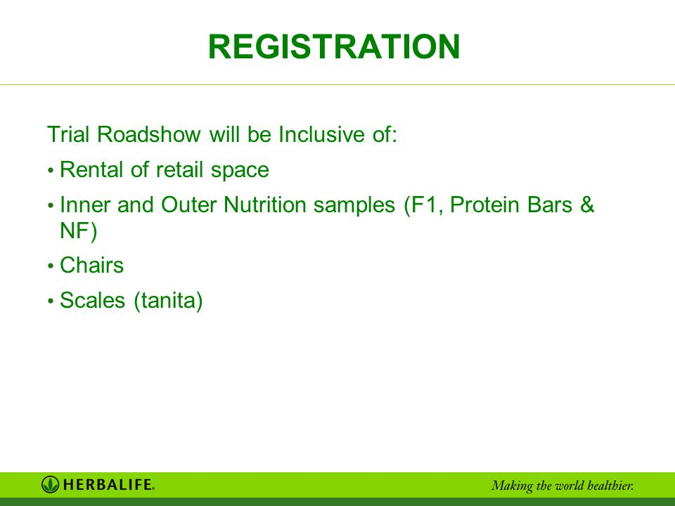 REGISTRATION Trial Roadshow will be Inclusive of: