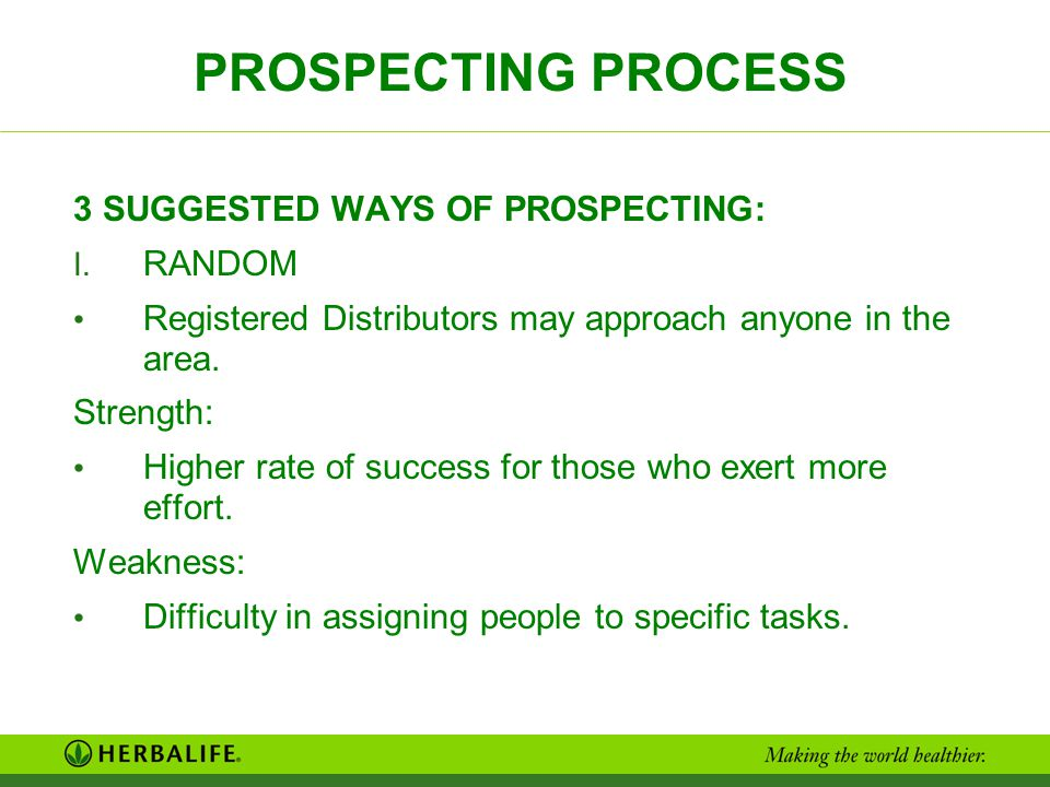 PROSPECTING PROCESS 3 SUGGESTED WAYS OF PROSPECTING: RANDOM