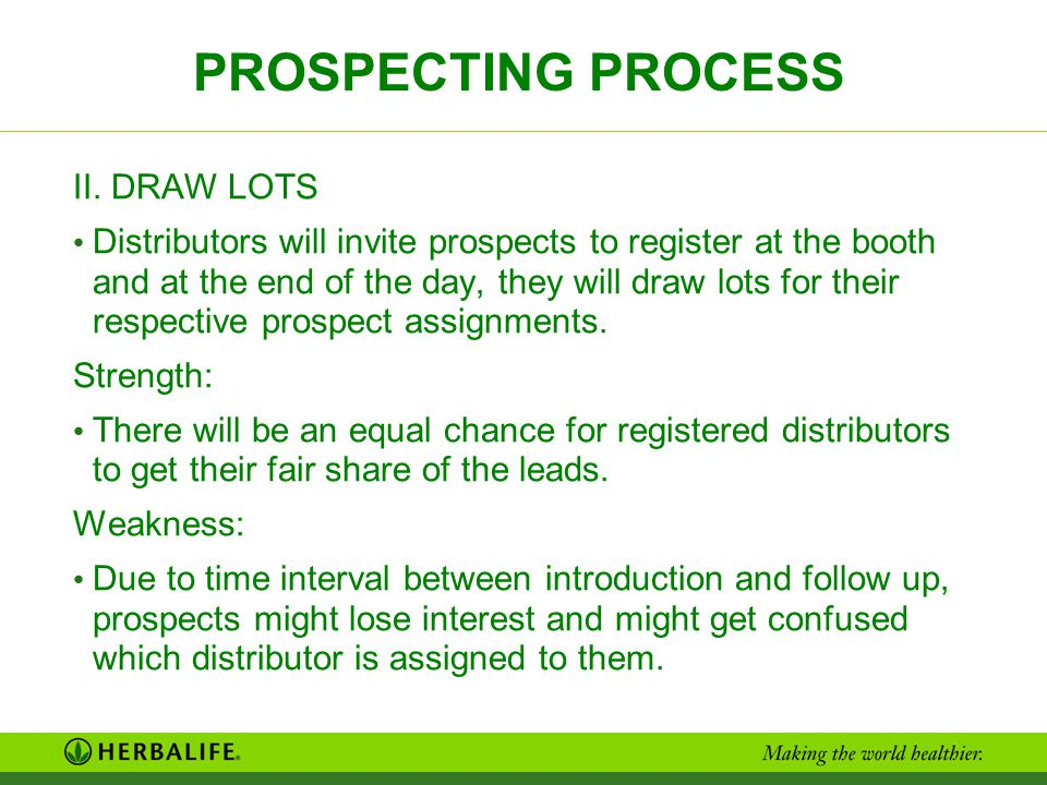 PROSPECTING PROCESS II. DRAW LOTS