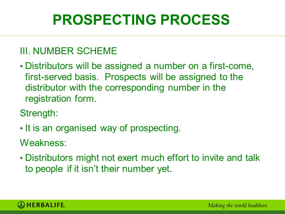 PROSPECTING PROCESS III. NUMBER SCHEME