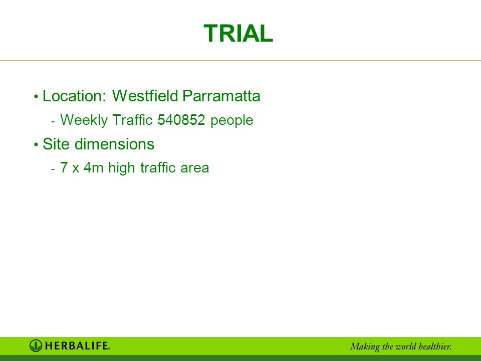 TRIAL Location: Westfield Parramatta Site dimensions