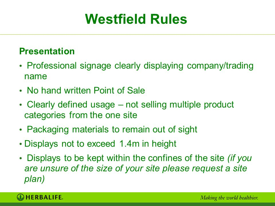 Westfield Rules Presentation